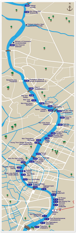 Храм Лежащего Будды, Ват Арун и река Чао Прайя на речном трамвае. Схема реки Чао Прайя