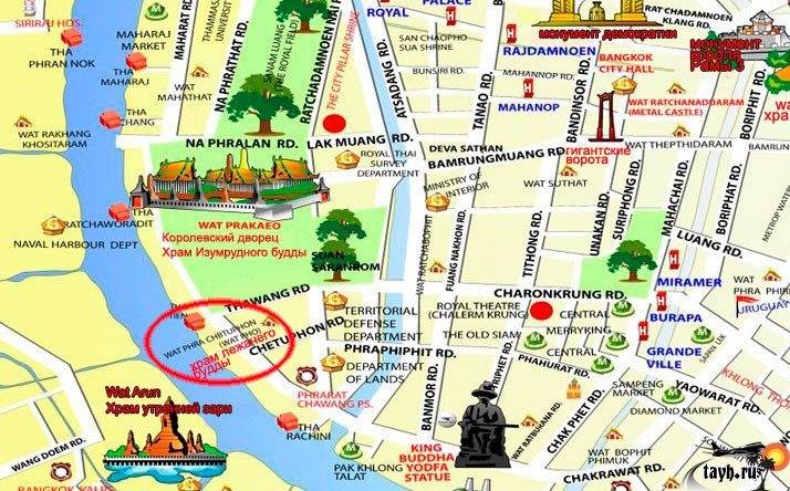 Храм Лежащего Будды, Ват Арун и река Чао Прайя на речном трамвае.Карта Бангкока