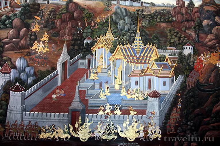 Королевский Дворец в Бангкоке и храм Изумрудного Будды. Изображение Дворца