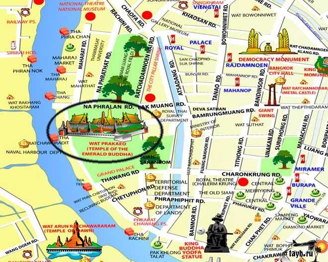 Королевский Дворец в Бангкоке и храм Изумрудного Будды.Карта