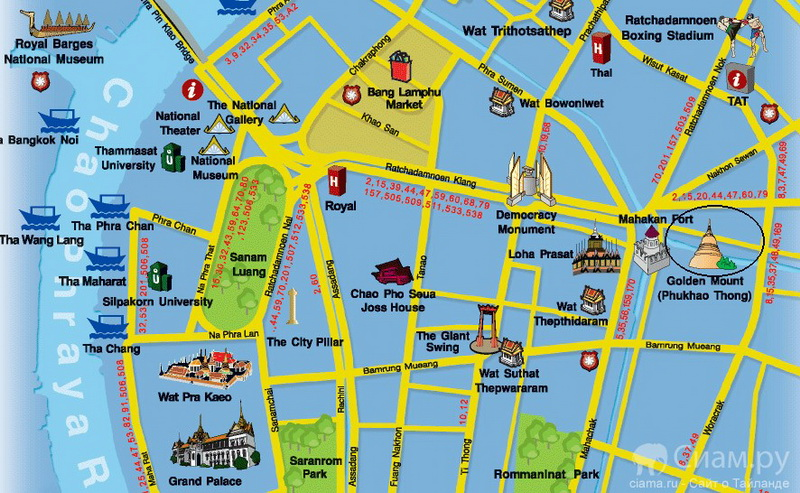 Храм Ват Сакет. Бангкок. Карта