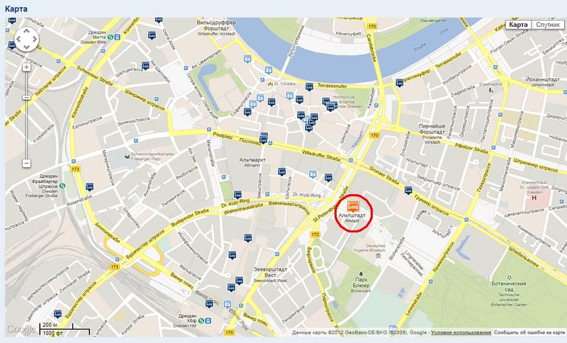 Отель в Дрездене.Карта