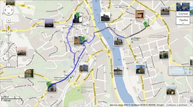 Маршрут, карта города Мейсен
