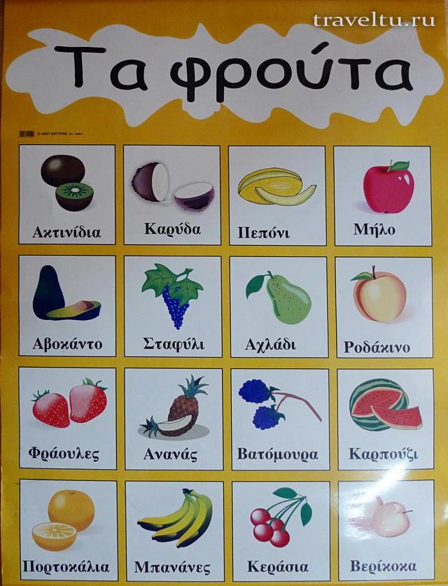 Название фруктов на греческом