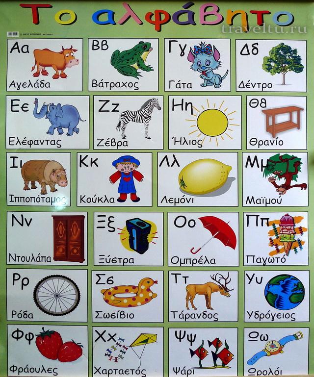 Названия разных предметов на греческом.