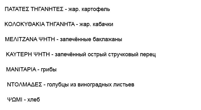 Греческие названия блюд