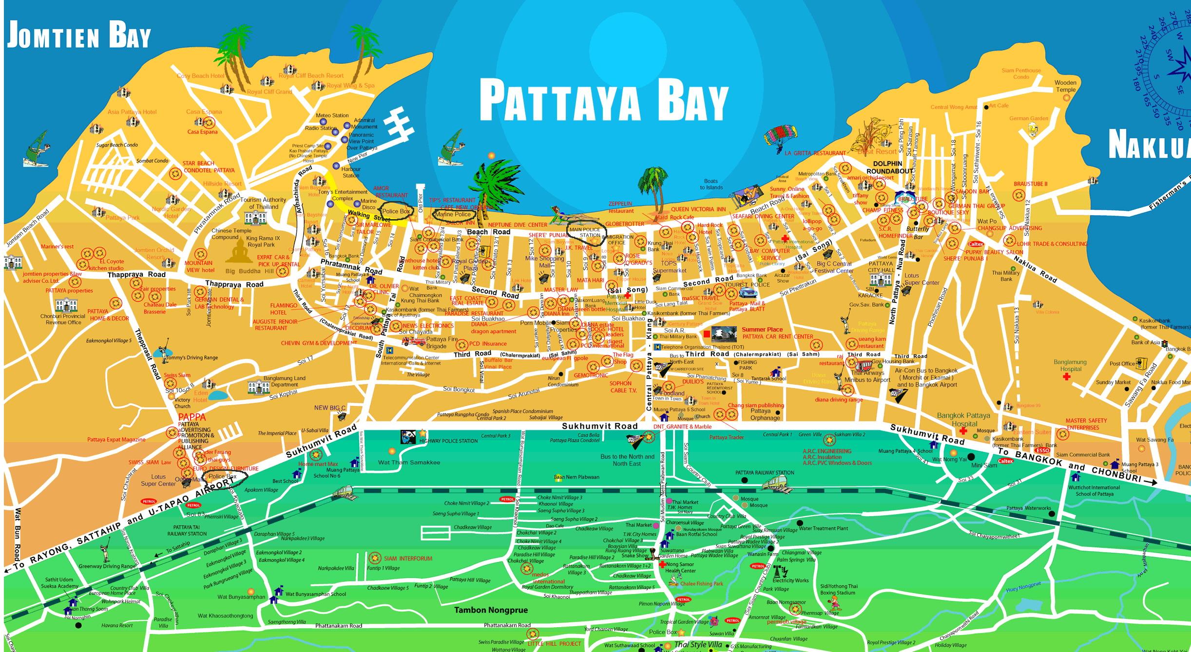 Особенности национального отдыха в Паттайе. Карта Паттайи