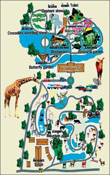 Сафари-парк в Канчанабури. Карта