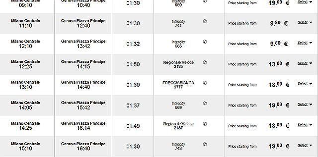 Цены ж/д билетов в Геную