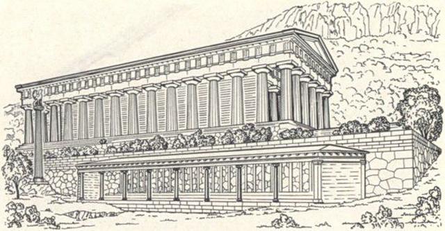Реконструкция галереи (стоя) в Дельфах