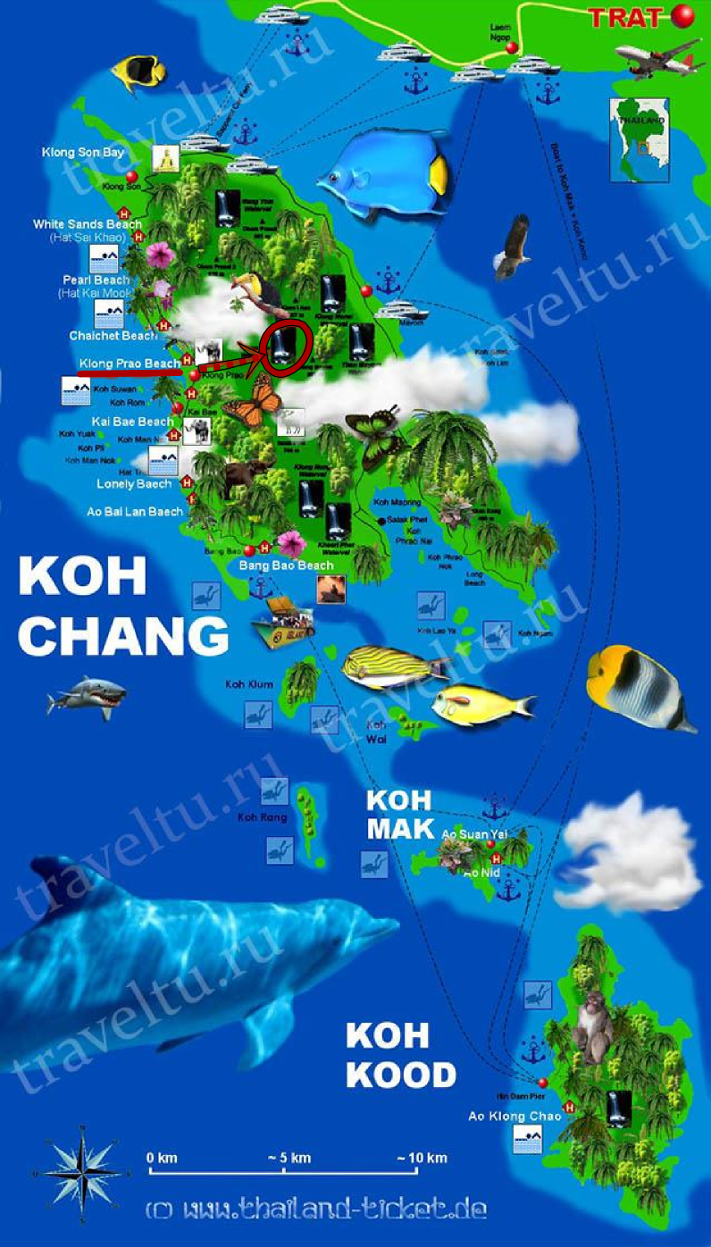 Карта Ко Чанга. Водопад Клонг Плу
