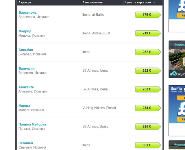 Стоимость авиабилета в Испанию