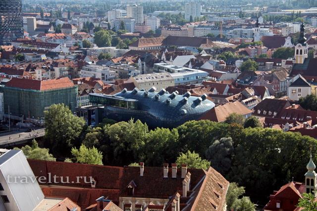 Вид на Кунстхаус с замка Шлоссберг