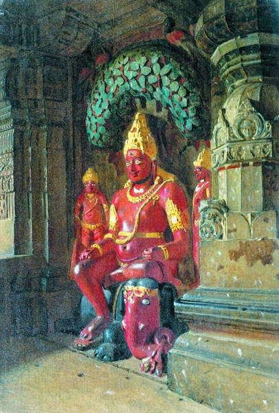 Статуя Вишну в храме Индры в Эллоре. 1874–1876 гг.