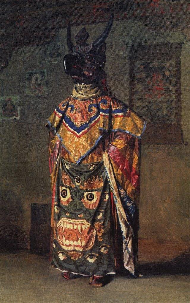 Буддиский лама на празднике в монастыре Пемиончи. Сикким. 1875 г