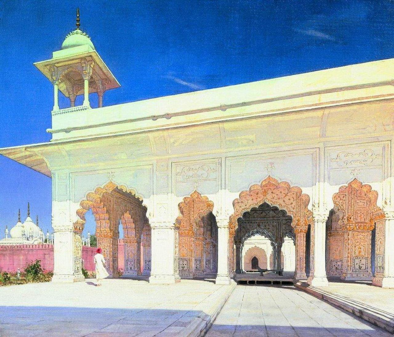 Дели Тронный зал Великих моголов Шах-Джахана и Ауранг-Зеба в форте Дели