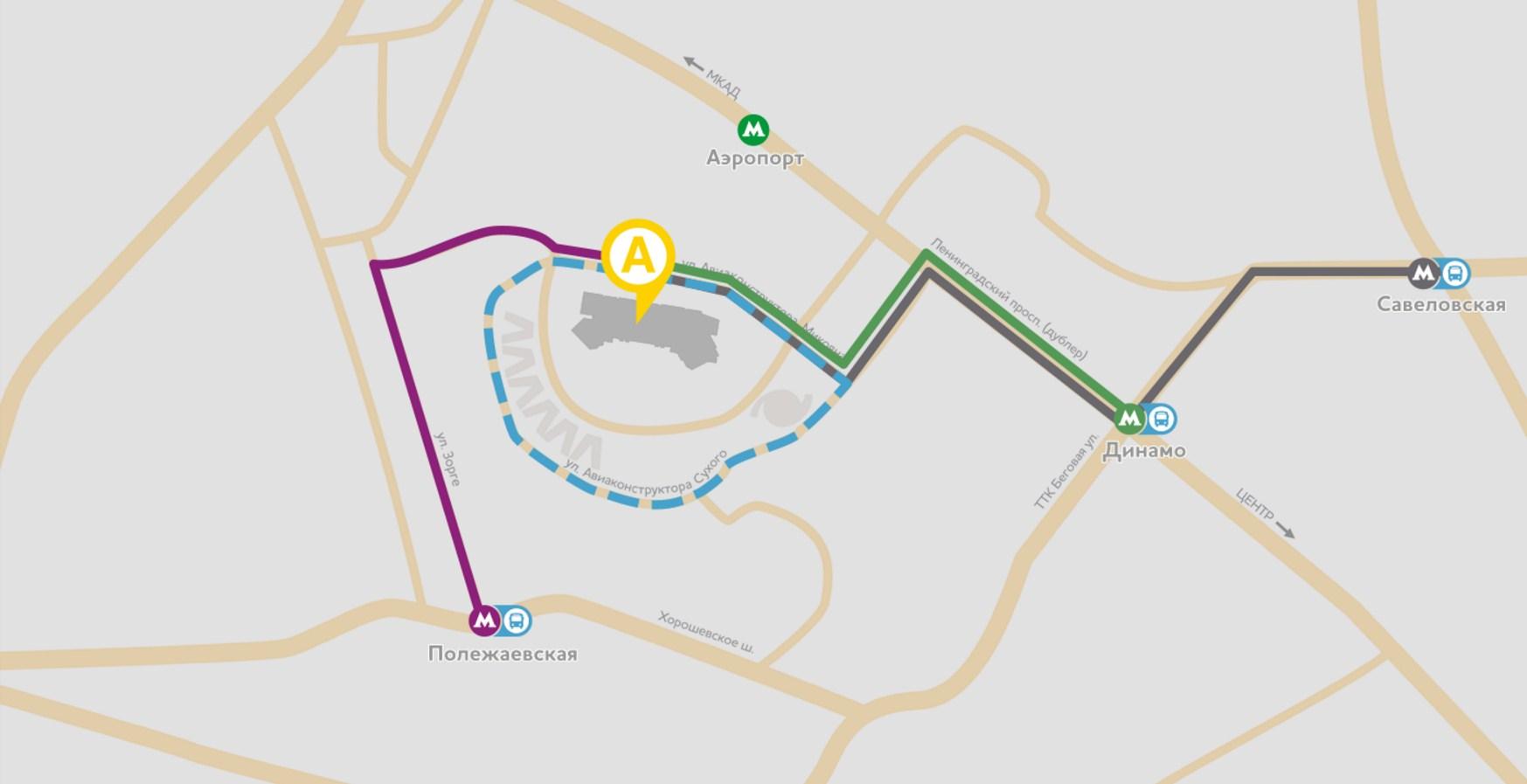 Как добраться от метро динамо до авиапарка