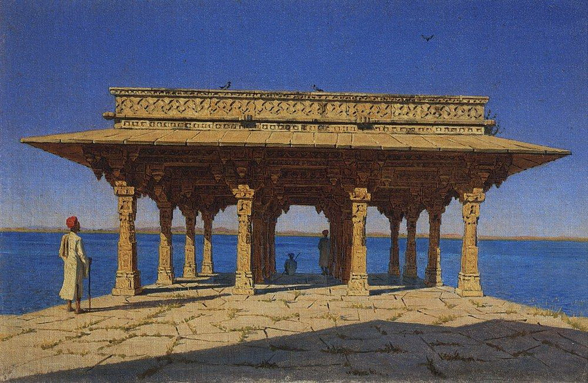 Вечер на озере. Один из павильонов на Мраморной набережной в Раджнагаре (княжество Удайпур). 1874