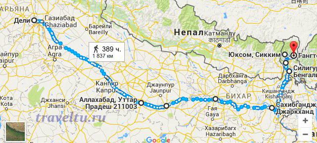 Маршрут В.В. Верещагина в горное королевство Сикким