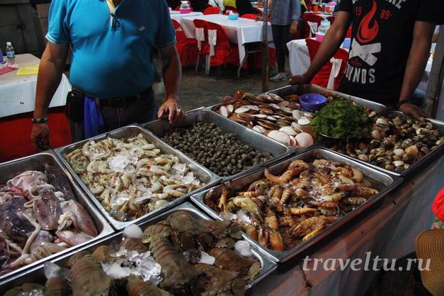Большой выбор морепродуктов