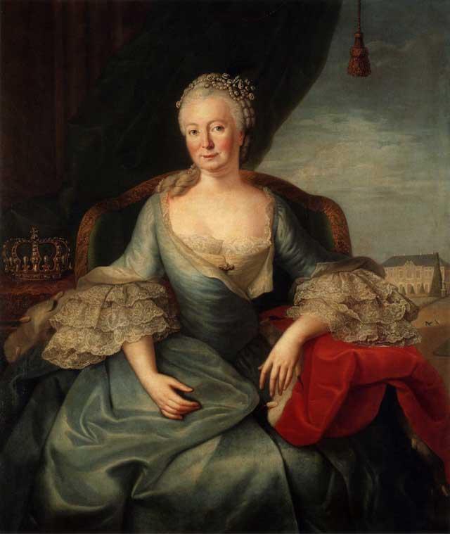 Портрет Елизаветы Кристины на фоне дворца