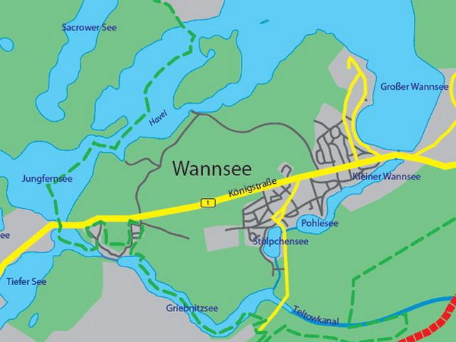 карта озера Ванзее
