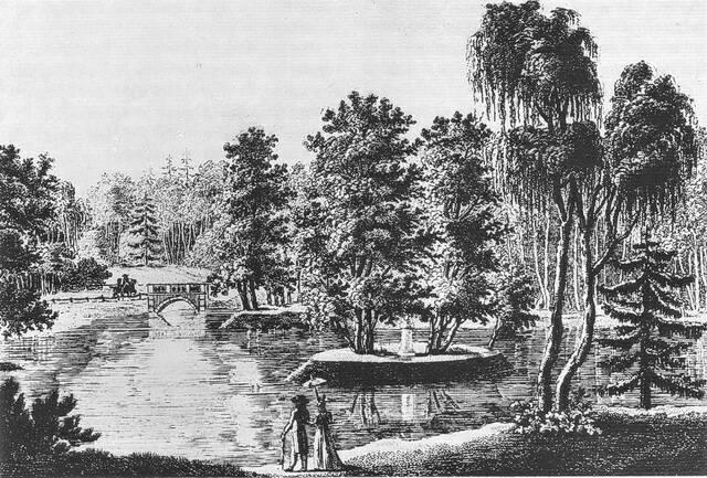 Остров Руссо в Тиргартене 1800 год