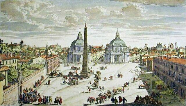 Пьяцца дель Пополо в Риме на старинной картине