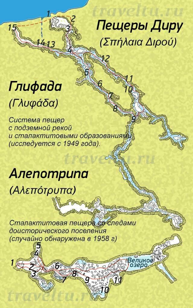 Пещеры Диру схема