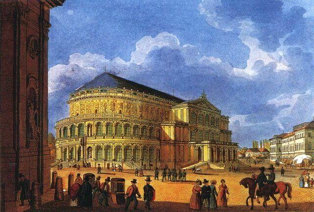 Первое здание оперы Земпера 1850—1860 гг.