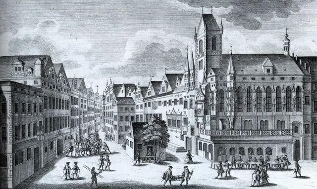 Вид на Староместскую ратушу в 1740 году
