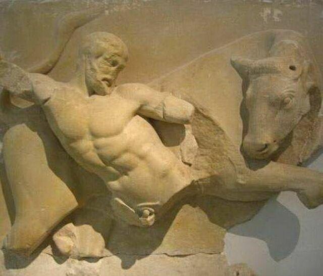 Метопа Геракл и Критский бык
