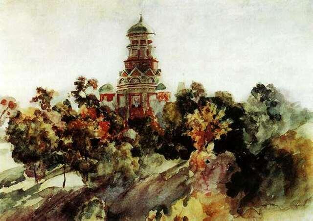 В.Суриков. Церковь в селе Дьякове. 1910 год.