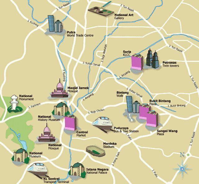 Карта Куала_Лумпура с достопримечательностями
