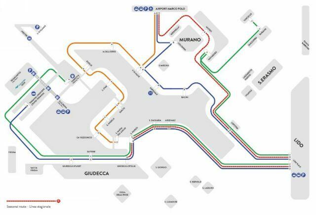 Схема маршрутов вапоретто